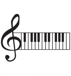 Sticker Clé de sol clavier piano