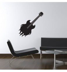 Sticker Guitare flamme