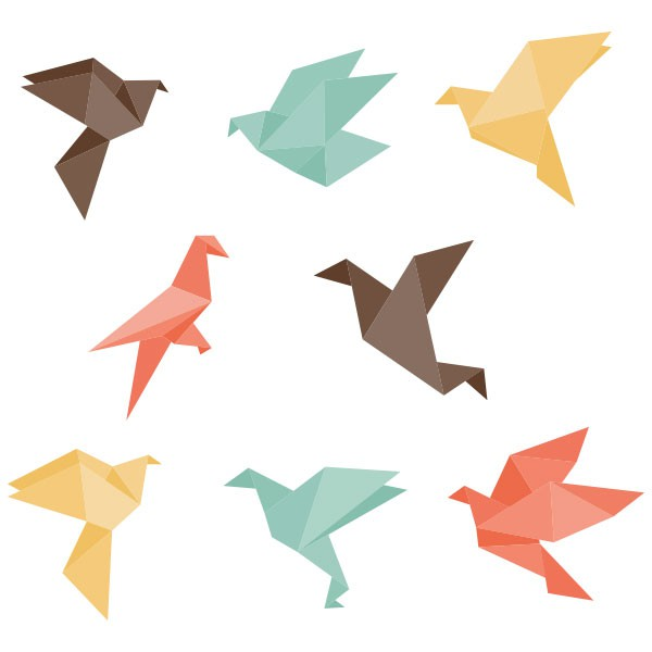 stickers oiseaux origami stickmywall. Black Bedroom Furniture Sets. Home Design Ideas